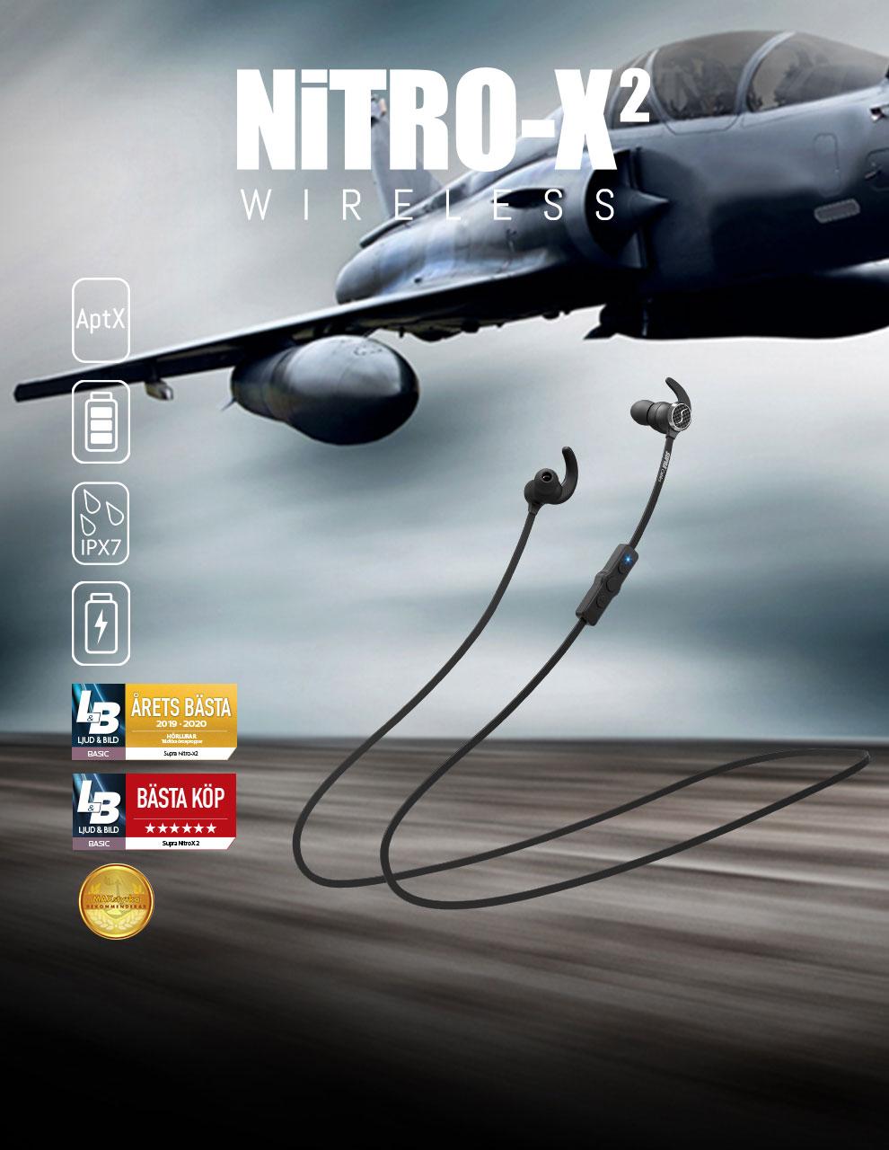 NiTRO-X2 Trådlösa sporthörlurar